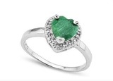 1.6ct Emerald & Diamond Heart Ring In Sterling Silver