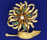 Vintage Emerald, Sapphire, And Diamond Feather/flower Pin Brooch In 14k Yellow Gold