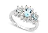 Sky Blue Topaz 3-stone Ring In Sterling Silver
