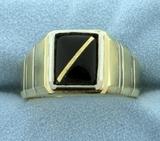 Men's Onyx Ring In 14k Gold
