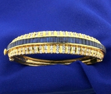 Natural Sapphire And Diamond Bangle Bracelet In 18k Yellow Gold