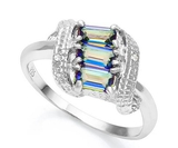 Ocean Mystic Topaz & Diamond Scroll Ring In Sterling Silver