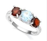 Classic Blue Topaz & Garnet 3-stone Ring In Sterling Silver