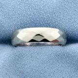 Diamond Pattern Wedding Band Ring In 14k White Gold