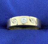 Antique Men's Old European Cut Diamond Band Ring In 14k Yellow And White Gold