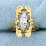 Unique Vintage 3 Stone Diamond Ring In 14k Gold