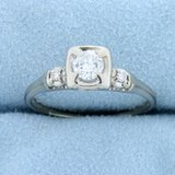 3 Stone Diamond Engagement Ring In 14k White Gold