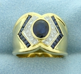 Natural Sapphire And Diamond Ring In 18k Yellow Gold