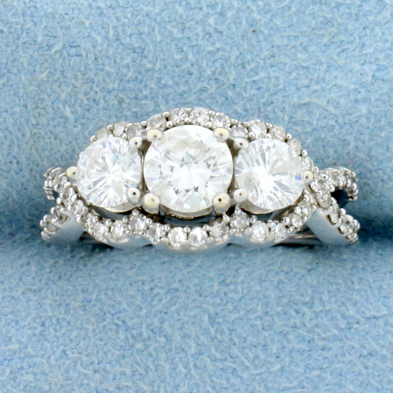 2ct Tw 3 Stone Halo Diamond Engagement Ring Or Anniversary Ring In 14k White Gold