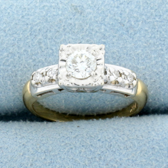 Vintage 1/2ct Tw Diamond Engagement Ring In 14k Yellow And White Gold