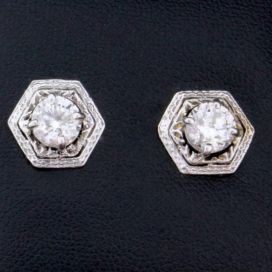 Vintage 1.6ct Tw Diamond Earrings In 14k White Gold