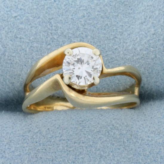 Unique Designer Diamond Solitaire .80 Ct Engagement Ring In 14k Yellow Gold