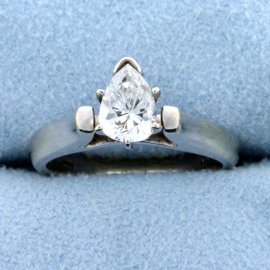 3/4ct Pear Diamond Solitaire Engagement Ring In 18k White Gold