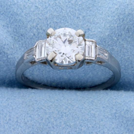 Vintage 1.4ct Tw Diamond Engagement Ring In Platinum
