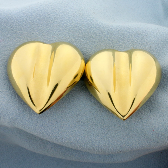 Huge Italian Made Heart Statement Earrings In 14k Yellow Gold