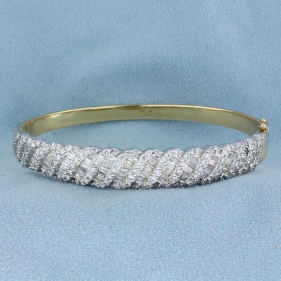 5 Carat Diamond Bangle Bracelet In 14k Gold
