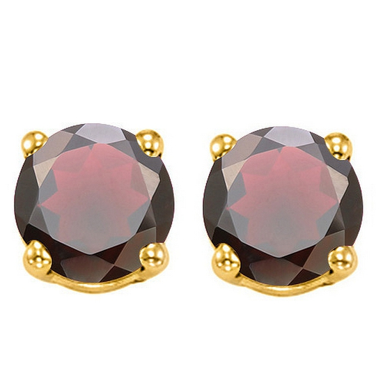 6mm Garnet Stud Earrings In 10k Yellow Gold