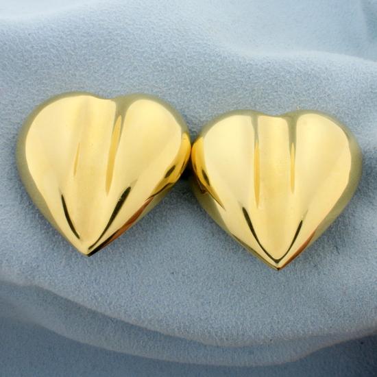 Italian Made Heart Statement Earrings In 14k Yellow Gold