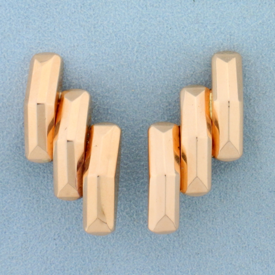 Vintage Art Deco Oversized Clip On Earrrings In 14k Rose Gold