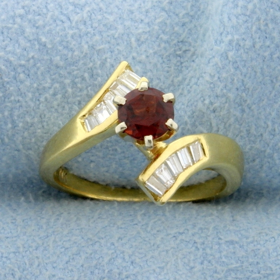 Garnet And Baguette Diamond Bypass Ring In 18k Yellow Gold