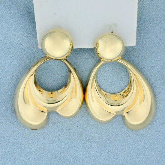 Large Abstract Dangle Doorknocker Style Statement Earrings In 14k Yellow Gold