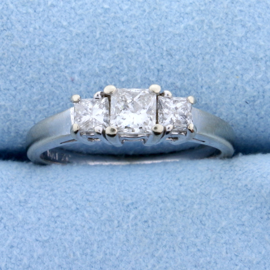 1ct Tw Three Stone Princess Cut Diamond Engagement Ring Or Anniversary Ring In 14k White Gold