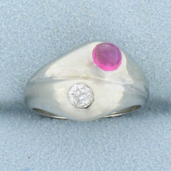Vintage Old European Cut Diamond And Ruby Ring In 18k White Gold