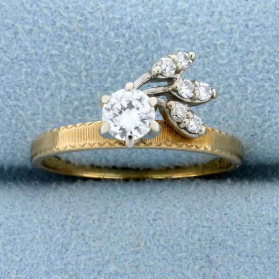 Vintage 1/2 Ct Diamond Ring In Unique Setting In 14k Gold