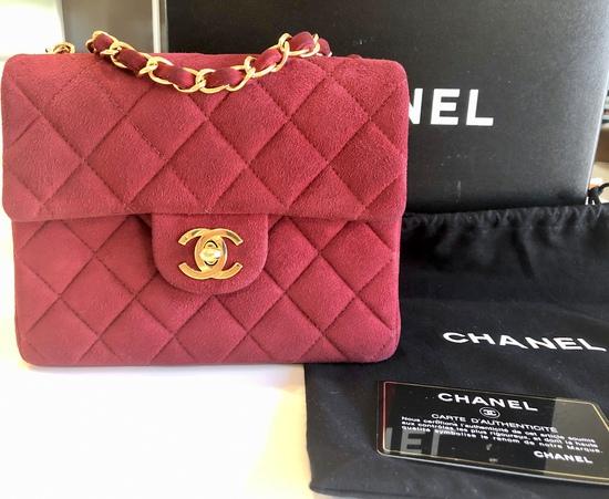 Genuine Chanel Mini Red Suede Classic Square Flap Bag Rare