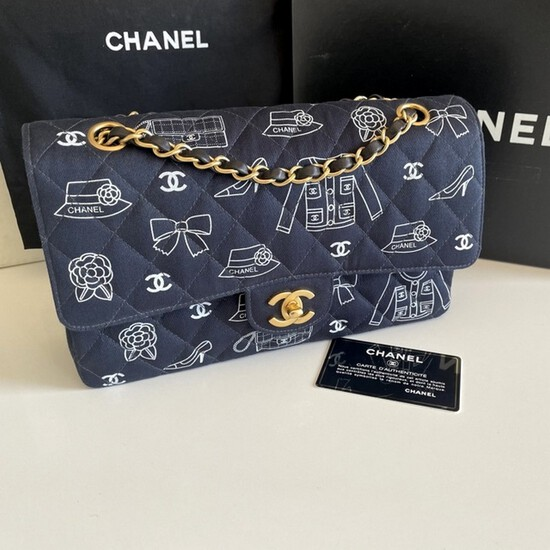 Genuine Chanel Icon Quilted Double Flap Bag Rare