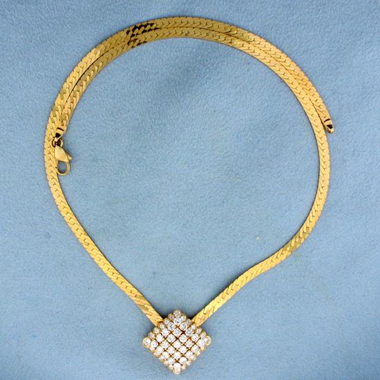 2ct Tw Diamond Herringbone Necklace In 14k Gold