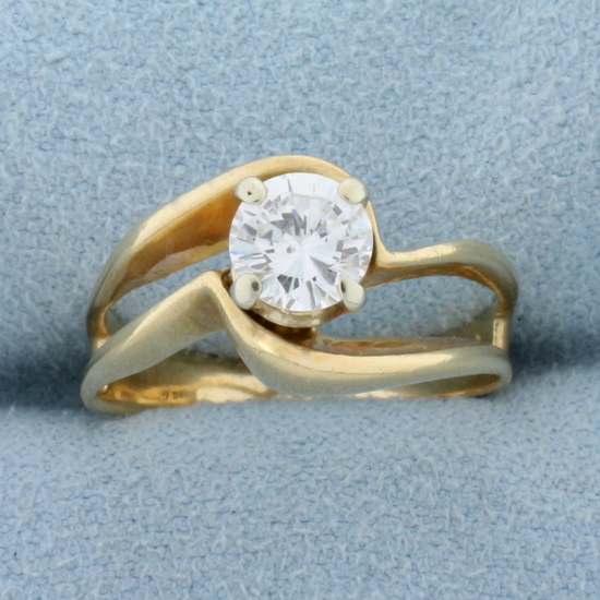 Unique Designer Diamond Solitaire .80 Ct Engagement Ring In 14k Yellow Gold
