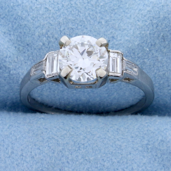 Vintage 1.4ct Tw Diamond Engagement Ring In Platinum
