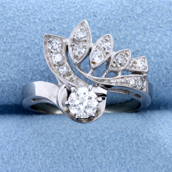 Antique 1/2 Ct Tw Old European Cut Diamond Ring In 14k White Gold