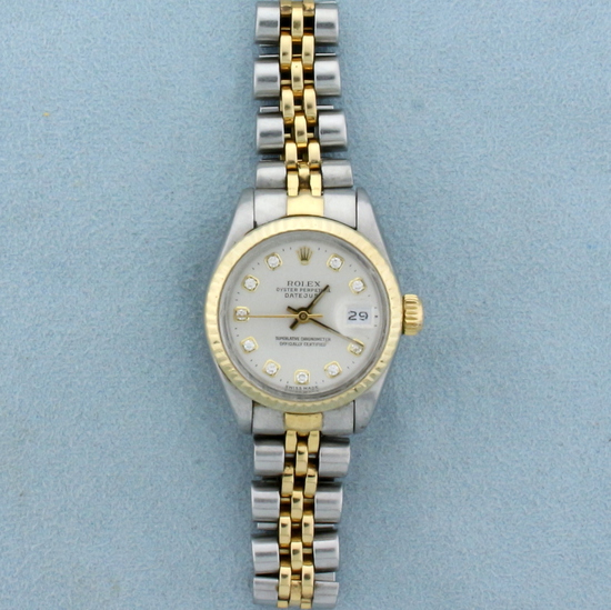Rolex Ladies Datejust Watch With Diamond Dial And Two Tone Band