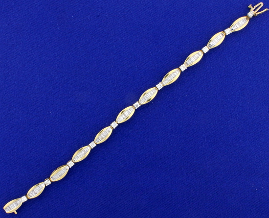 5ct Tw Baguette And Round Diamond Tennis Bracelet In 14k Yellow Gold