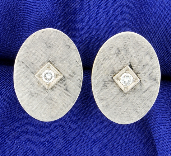 Classic Vintage Diamond Cuff Links In 14k White Gold