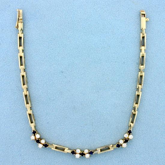 Diamond And Sapphire Bracelet In 18k Yellow Gold