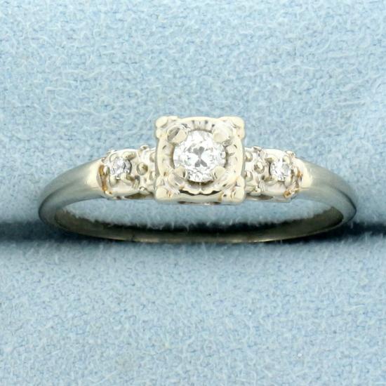 Antique Three Stone European Cut Diamond Engagement Ring In 14k White Gold