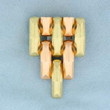 Vintage Art Deco Statement Pin In 14k Rose, White, & Yellow Gold