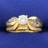 Vintage 1/2ct Tw Diamond Engagement Ring In 14k Yellow Gold