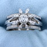 Starburst Design Diamond Ring In 14k White Gold