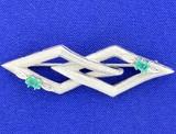 Antique Art Deco Design Emerald And Diamond Pin In 18k White Gold