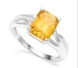 2ct Citrine & Diamond Ring In Sterling Silver