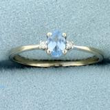 Swiss Blue Topaz And Diamond Ring In 14k White Gold