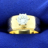 Wide Band 3/4ct Diamond Solitaire Engagement Ring In 14k Yellow Gold