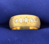 Unique Textured 1/2ct Tw Diamond Band Ring In 14k Yellow Gold