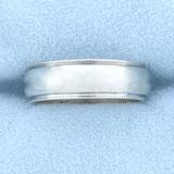 Milgrain Beaded Edge Wedding Band Ring In 14k White Gold