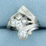 Vintage Hand Crafted 3/4ct Tw Diamond Ring In 14k White Gold
