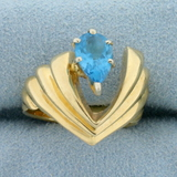 Unique Swiss Blue Topaz Floating Design Ring In In 14k Yellow Gold